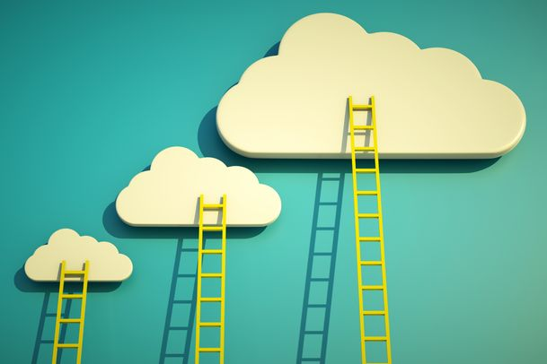 a competition concept, clouds with ladders on blue