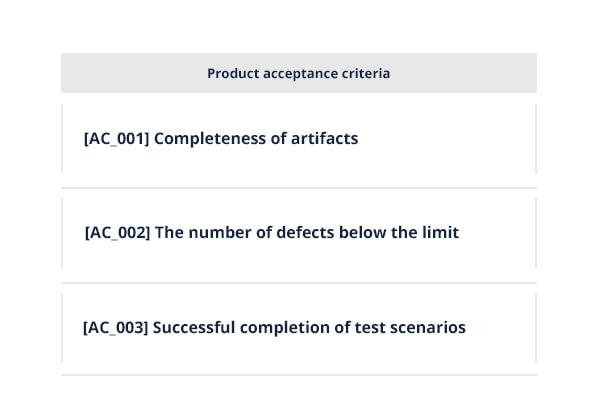 product acceptance criteria