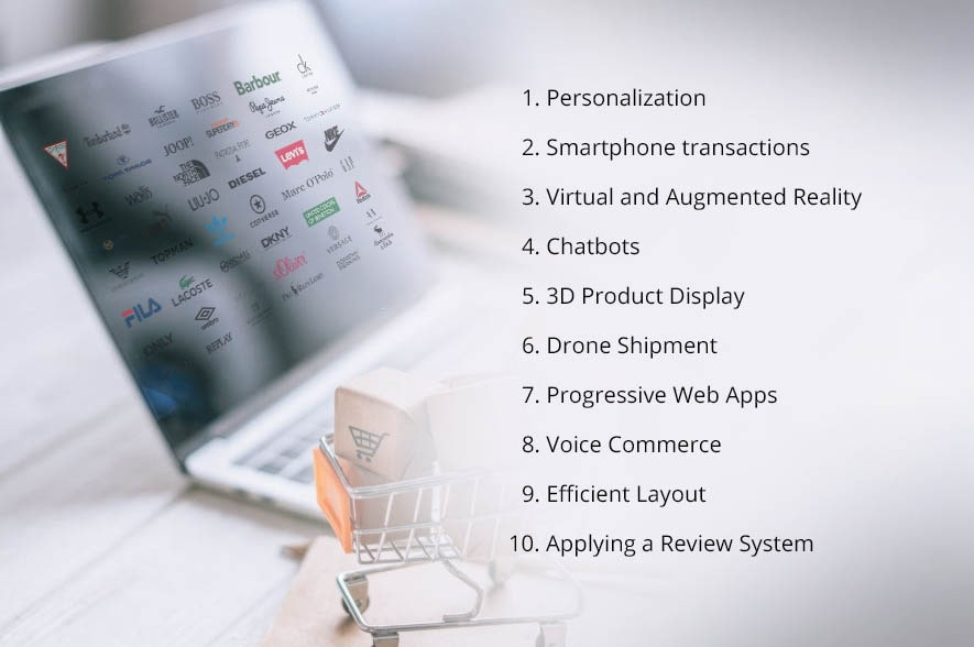 a laptop with list of top-10 ecommerce development trends