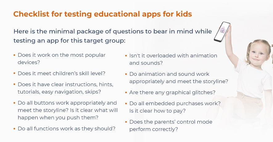 checklist to test e-learning app for kids