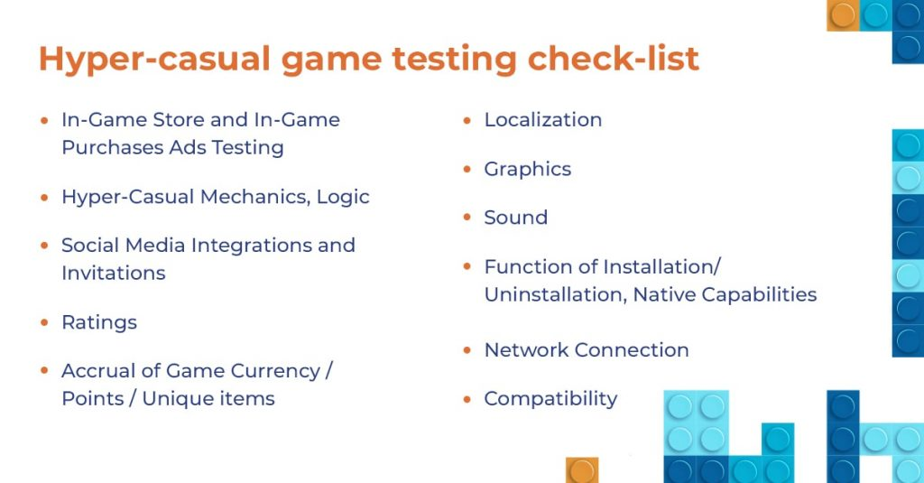 Hyper-casual game testing check-list
